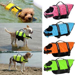 AU Pet Safety Vest Dog Life Jacket Reflective Stripe Preserver Puppy Swimming