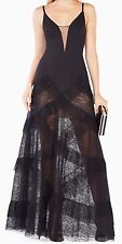 New with defect $468 BCBG MAXAZRIA BLACK AVALINE PLEATED dress 3101sz 6