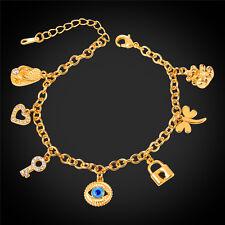 Evil Eye Heart Key Charms Bracelet 18K Gold Plated Rhinestone Jewelry for Women