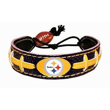 NFL PITTSBURGH STEELERS FAN AUTHENTIC FOOTBALL LEATHER BRACELET **NEW**