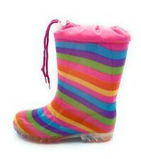 Jelly Beans Little Girls SAB Rubber Rain Boot Pink Green Stripe Size 1 M US