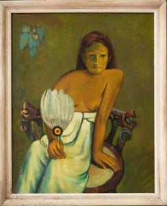 "Theo Meier? Swiss/Thailand Artist Oil ""Copy Of Gauguin's Girl With A Fan"""