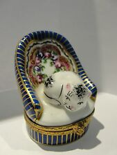 Limoge France Hand Painted Cat in Chair Trinket Box