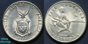 PHILIPPINES 5 Centavos 1944-S circulated FREE SHIPPING IN UNITED STATES