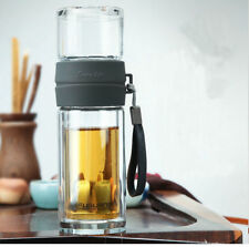 Double Wall Clear Glass Gongfu Tea Thermos Flask With Separate Cup 220ml G1312