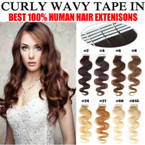18'' Curly 7A Remy Tape In Skin Premier Human Hair Extensions 20pcs 40g UK Stock