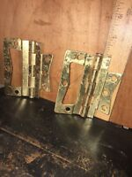 2 Vintage Hinge Hinges Metal Brass Look.