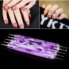 2PCS Marbleizing Dotting Manicure Pen Nail Art Paint Dot Tools Nail Decor