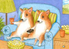 ACEO art print Dog 51 Corgi watching TV from original painting L.Dumas