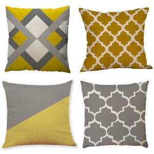 Mustard / Ochre Yellow & Grey Geometric Cushion Cover 18 inch / 45*45cm