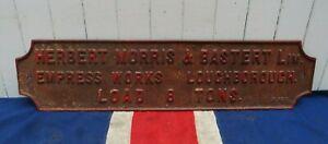 VICTORIAN ANTIQUE VINTAGE BRITISH UK LOUGHBOROUGH CAST IRON INDUSTRIAL SIGN