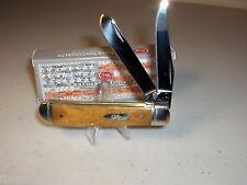 """CASE XX KNIFE - MINI TRAPPER - SMOOTH ANTIQUE BONE - #58188 - 3 1/2"""" Closed"""