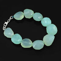 ABSOLUTELY GENUINE 354.00 CTS NATURAL CHALCEDONY FACETED BEADS BRACELET (DG)