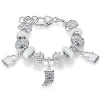 DIY European White Crystal Charms Silver Plated Bracelet Jewelry for Women Girls