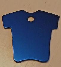 médaille gravée chien moyen à grand tee shirt bleu en alu anodisé