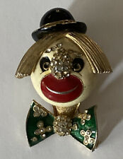 Black Signed Hat Face Pin Vintage Ciner Clown Brooch Enamel Rhinestone