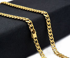 "14k Gold Plated Stainless Steel Heavy Hip Hop 7mm 30"" Miami Cuban Chain Necklace"
