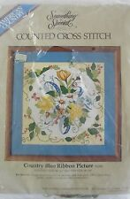 """SOMETHING SPECIAL CROSS STITCH KIT,""""COUNTRY BLUE RIBBON PICTURE"""",NEW"""