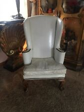 Antique Chair Salesmans Sample White Leather Chippendale Chair Child 32""