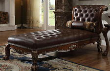 NEW FLORENCE DARK BROWN LEATHERETTE CHERRY OAK FINISH WOOD CHAISE LOUNGE CHAIR