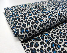 Blue LEOPARD STRETCH COTTON FABRIC animal print psychobilly punk rockabilly 1m