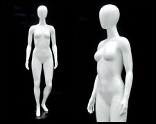 Female Fiberglass Glossy White Mannequin Egg Head Roxy Display #Md-Gpx02W1Eg