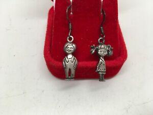Vintage Signed 925 Sterling Silver Figural Boy & Girl Dangle Earrings Pierced