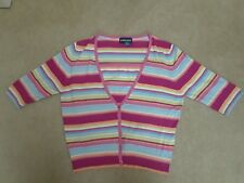 Forenza 2 Piece Striped Spring Summer Sherbet Colored Sweater Set - Size S