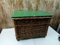 Small Vintage Wicker Fishing Basket with Plywood Lid & Reinforced Base