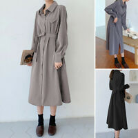 UK Womens Long Sleeve Shirt Dress Casual Loose Collared Button Down Midi Dresses