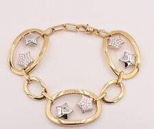 Italian Star Rolo Link CZ Bracelet 14K Yellow White Gold Clad Silver 925