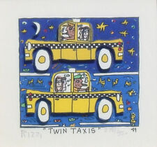 """James Rizzi """"Twin Taxis"""" 3-D Construction Lithograph"""