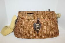 Vintage~WICKER~Fly Fishing CREEL Basket~ADJUSTABLE Yellow Strap~LEATHER DETAILS