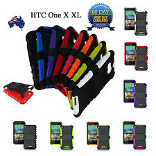 TPU + Silicone Shockproof Heavy Duty Kickstand Case Cover for HTC One X XL