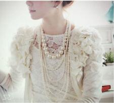 Fashion Women White Pearl Chain Chunky Choker Statement Pendant Bib Necklace New