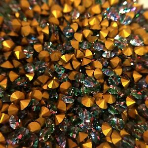 AM1073 Sparkling PP31 Vintage Swarovski iris chatons, gold foiled (1 gross)