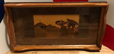 VINTAGE COFFEE TABLE TRAY Mexican/Spanish SCENE Horse/Sombrero/House INLAID WOOD