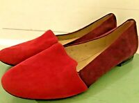 Women's Coach Two Tone Red Suede Flats Shoes Size 7.5