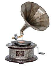 Nostalgie Grammophon rund Gramophone Dekoration Trichter Grammofon Antik-Stil