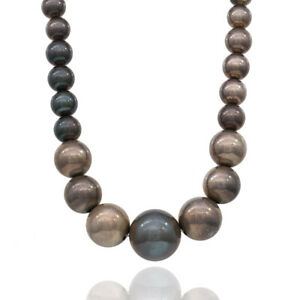 Large Sterling Silver Graduated Bead Necklace