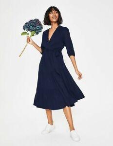 Boden  Aurora Wrap Midi Dress size 14 long dark blue colour W0319
