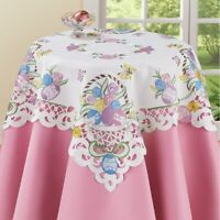 Colorful Easter Eggs Tulips & Daisies Cutout Polyester Square Tablecloth
