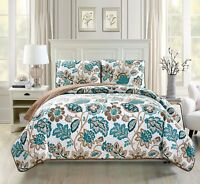 Fancy Linen Over Sized Quilt Bedspread Venice Off White Brown Teal All Sizes New