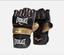 EVERLAST STRIKE FINGERLESS MMA GLOVES - BLACK AND GOLD - VARIOUS SIZES