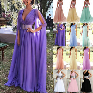 Womens Lace Maxi Tulle Dresses Wedding Bridesmaid Evening Party Prom Gown Dress