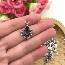 4 pcs Fleur de Lis Tibet silver Charms Pendants DIY Jewellery Making crafts