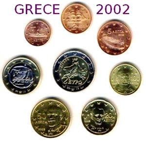 SERIE DE 8 PIECES 1CENT à 2€ GRECE  2002 pas de lettre * UNC-Neuve