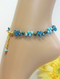 Glass Stone Jewellery Gold Ankle Chain Blue Turquoise Boho Hippie Variable #K021