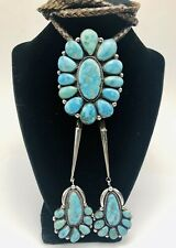 LARGE VINTAGE NAVAJO SIGNED LT BOOT STERLING SILVER TURQUOISE CLUSTER BOLO TIE