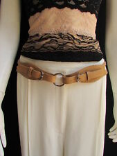 "WOMEN HIGH WAIST HIP BEIGE FAUX LEATHER CUT OUT FASHION BELT RINGS 32-36"" MEDIUM"